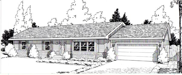 One-Story, Ranch House Plan 34004 with 3 Beds, 2 Baths, 2 Car Garage Elevation
