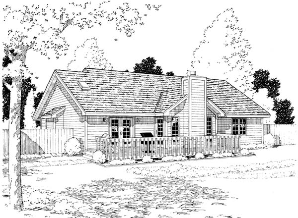 Country, European, One-Story, Ranch, Traditional House Plan 34029 with 3 Beds, 2 Baths, 2 Car Garage Rear Elevation