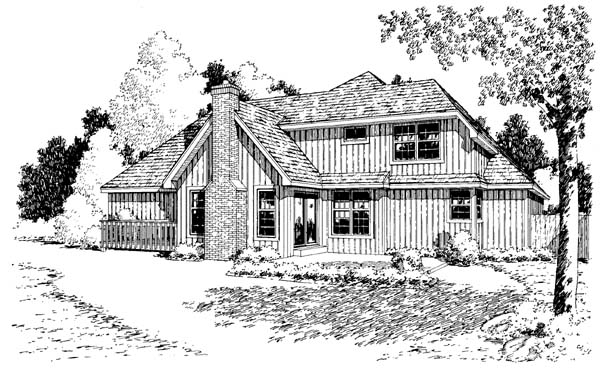 Bungalow, Country, Traditional House Plan 34049 with 4 Beds, 3 Baths, 2 Car Garage Rear Elevation