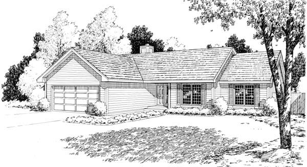 One-Story, Ranch House Plan 34154 with 3 Beds, 2 Baths, 2 Car Garage Elevation