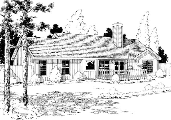 One-Story, Ranch House Plan 34154 with 3 Beds, 2 Baths, 2 Car Garage Rear Elevation