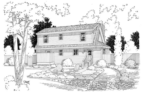 Country, Southern House Plan 34602 with 3 Beds, 3 Baths Rear Elevation