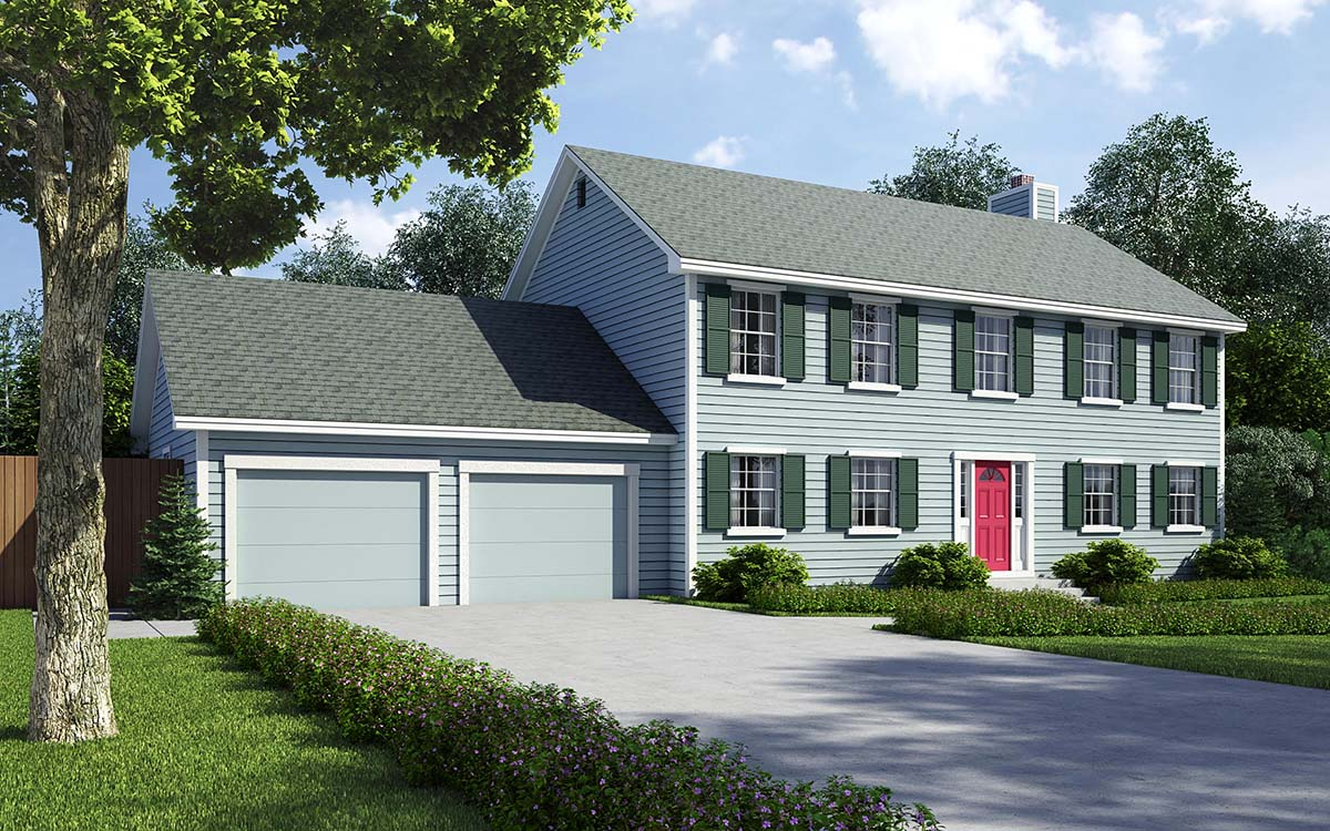 Colonial, Saltbox, Traditional House Plan 34705 with 4 Beds, 3 Baths, 2 Car Garage Front Elevation