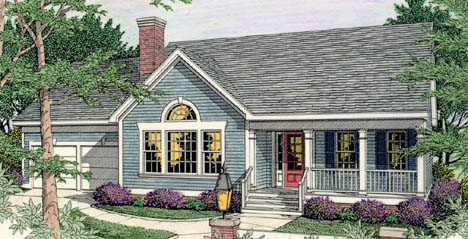 Country, Ranch House Plan 40004 with 3 Beds, 3 Baths, 2 Car Garage Elevation
