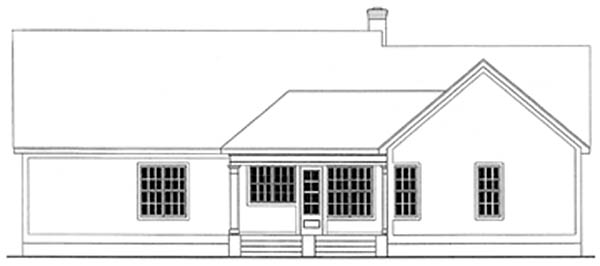 Country, Ranch House Plan 40004 with 3 Beds, 3 Baths, 2 Car Garage Rear Elevation