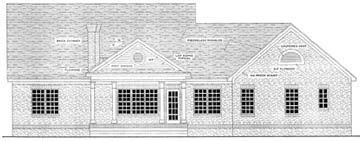 Colonial, Southern House Plan 40016 with 3 Beds, 2 Baths, 2 Car Garage Rear Elevation