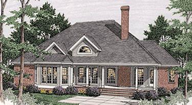 Bungalow, European House Plan 40017 with 3 Beds, 2 Baths, 2 Car Garage Rear Elevation