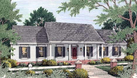 Colonial, Ranch House Plan 40022 with 3 Beds, 2 Baths, 2 Car Garage Front Elevation