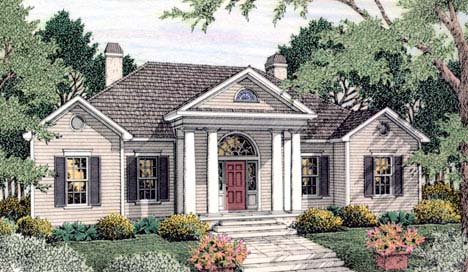 Colonial, European House Plan 40023 with 4 Beds, 3 Baths, 2 Car Garage Front Elevation