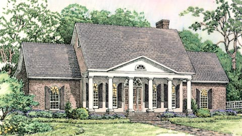 Colonial, European, Southern House Plan 40024 with 3 Beds, 3 Baths, 2 Car Garage Front Elevation