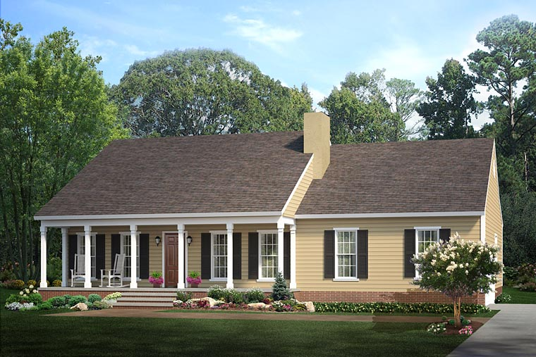 Country, Ranch House Plan 40026 with 3 Beds, 2 Baths, 2 Car Garage Elevation