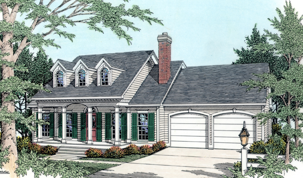 Cape Cod, Country House Plan 40029 with 3 Beds, 2 Baths, 2 Car Garage Front Elevation