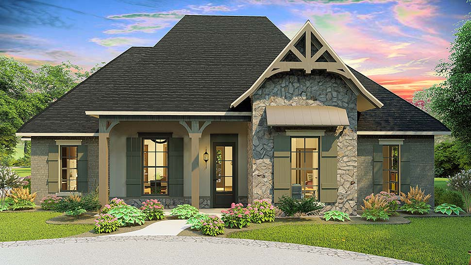 Cottage, Country, Craftsman, Southern, Traditional House Plan 40043 with 4 Beds, 3 Baths, 2 Car Garage Front Elevation