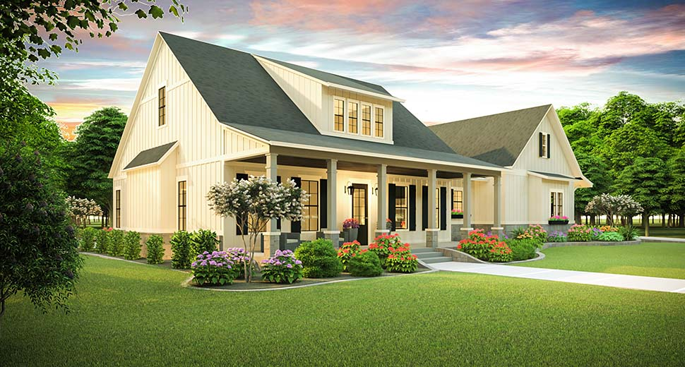 Cottage, Country, Farmhouse, Ranch, Southern, Traditional House Plan 40045 with 3 Beds, 2 Baths, 2 Car Garage Picture 2
