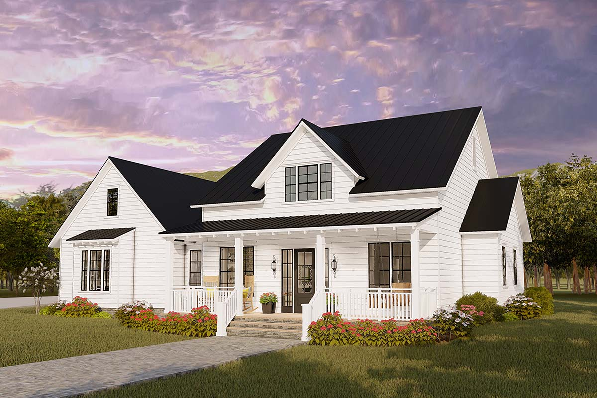 Cottage, Country, Craftsman, Farmhouse, Ranch, Southern, Traditional House Plan 40046 with 4 Beds, 2 Baths, 2 Car Garage Picture 1