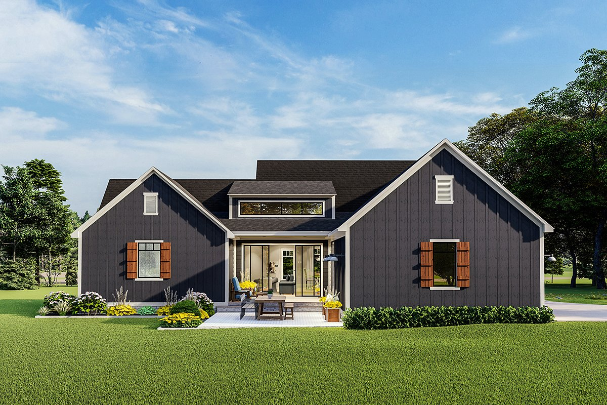 Cottage, Country, Craftsman, Farmhouse, Ranch, Southern, Traditional House Plan 40048 with 3 Beds, 2 Baths, 2 Car Garage Rear Elevation