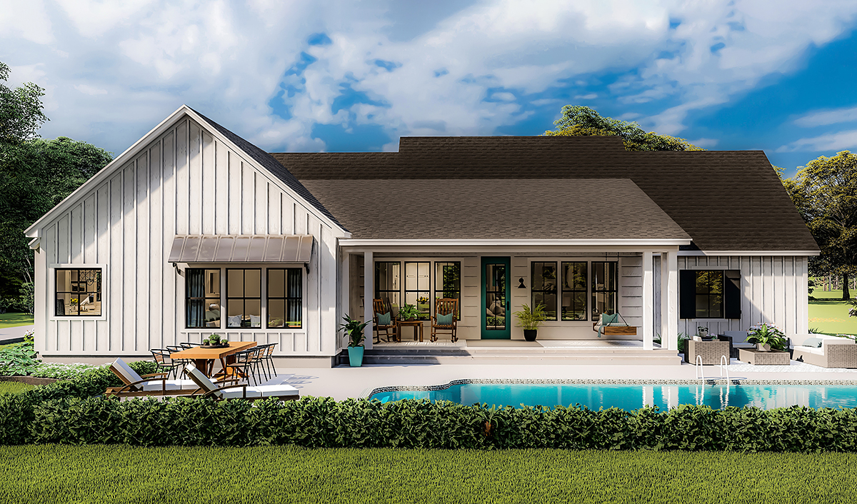 Country, Farmhouse, Ranch, Southern House Plan 40053 with 4 Beds, 2 Baths, 2 Car Garage Rear Elevation