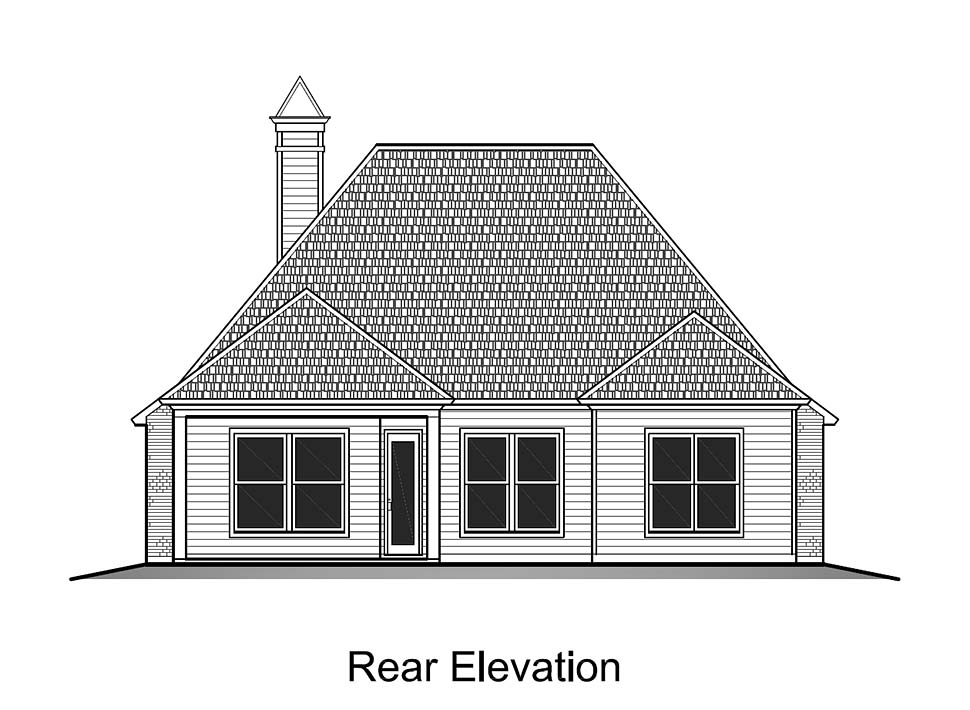 European, French Country House Plan 40317 with 3 Beds, 2 Baths, 2 Car Garage Rear Elevation