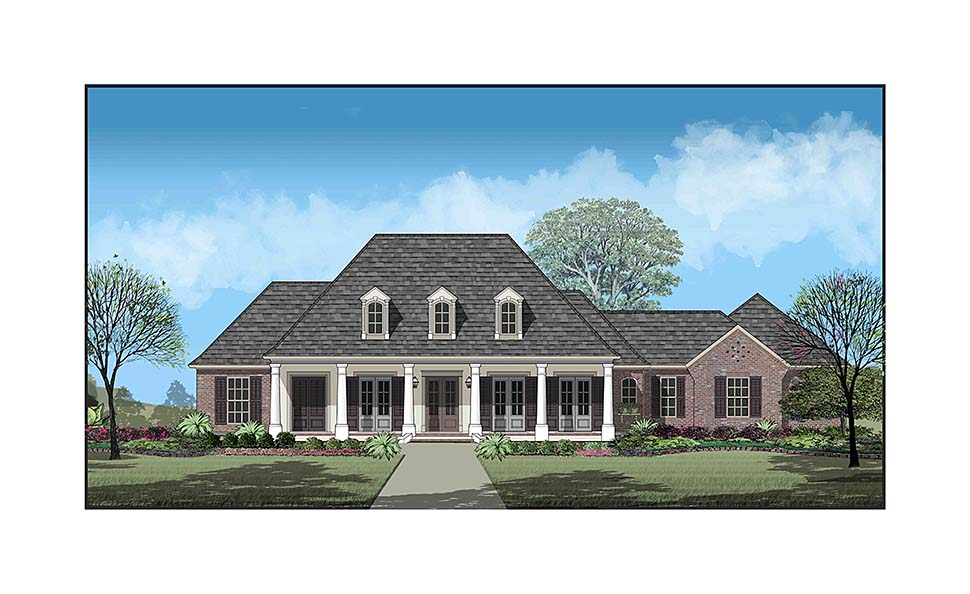 Colonial, Country, French Country, Southern House Plan 40335 with 3 Beds, 3 Baths, 2 Car Garage Elevation