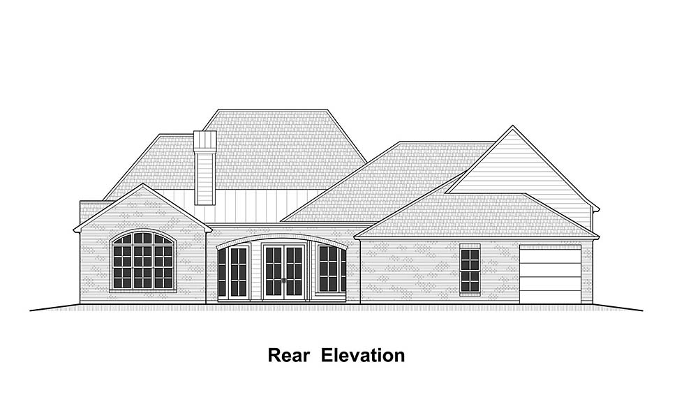 Colonial, Country, French Country, Southern House Plan 40339 with 4 Beds, 5 Baths, 3 Car Garage Rear Elevation