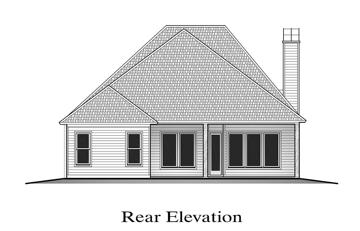 Cottage House Plan 40345 with 4 Beds, 3 Baths, 2 Car Garage Rear Elevation