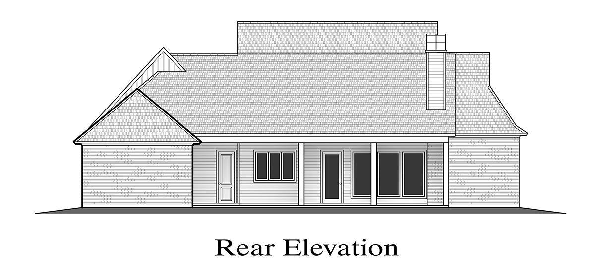 Farmhouse House Plan 40351 with 4 Beds, 4 Baths, 2 Car Garage Rear Elevation