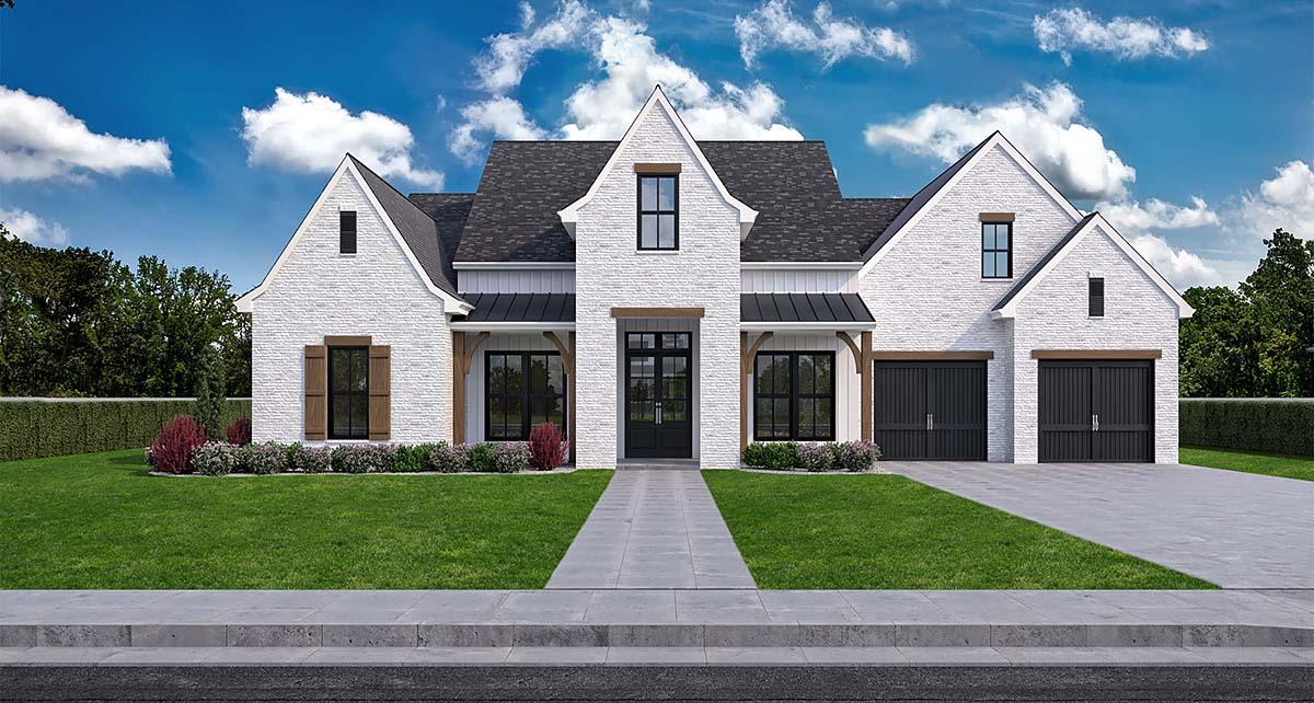 Farmhouse House Plan 40352 with 5 Beds, 4 Baths, 2 Car Garage Elevation