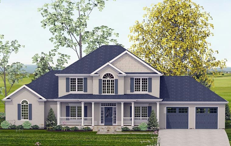 Colonial, Country, Southern, Traditional House Plan 40503 with 5 Beds, 4 Baths, 2 Car Garage Elevation