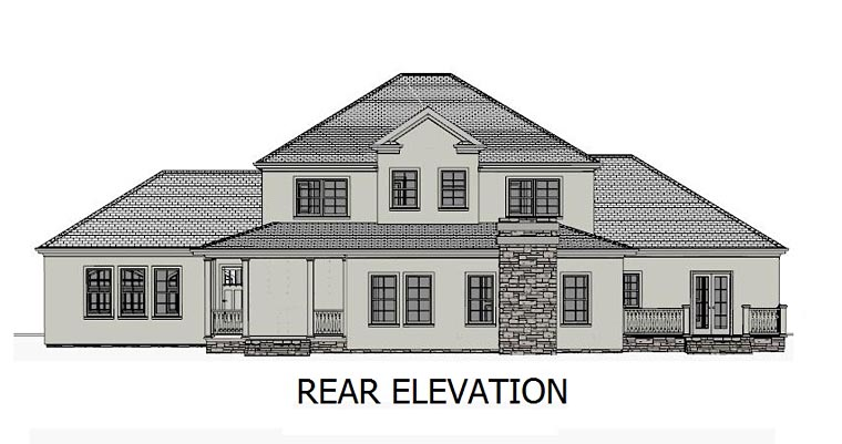 Colonial, Country, Southern, Traditional House Plan 40503 with 5 Beds, 4 Baths, 2 Car Garage Rear Elevation