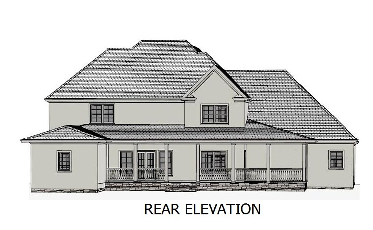 Colonial, Country, Southern, Traditional House Plan 40506 with 4 Beds, 4 Baths, 2 Car Garage Rear Elevation