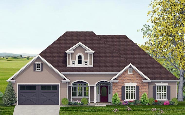 Country, Southern, Traditional House Plan 40512 with 4 Beds, 4 Baths, 2 Car Garage Front Elevation