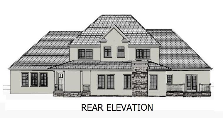 Colonial, Country, Southern, Traditional House Plan 40513 with 4 Beds, 5 Baths, 3 Car Garage Rear Elevation