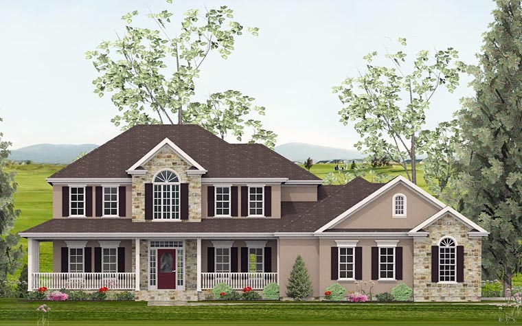 Colonial, Country, Southern, Traditional House Plan 40514 with 4 Beds, 4 Baths, 2 Car Garage Elevation