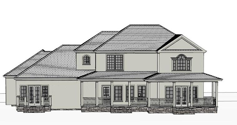 Colonial, Country, Southern, Traditional House Plan 40514 with 4 Beds, 4 Baths, 2 Car Garage Rear Elevation