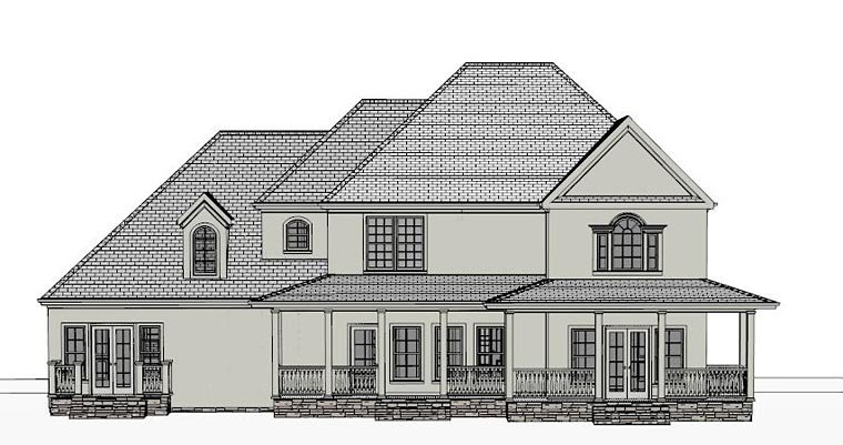 Colonial, Country, Southern, Traditional House Plan 40515 with 4 Beds, 4 Baths, 2 Car Garage Rear Elevation