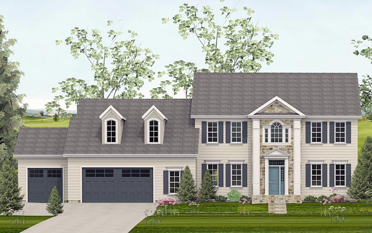 Colonial, Southern House Plan 40516 with 4 Beds, 4 Baths, 3 Car Garage Elevation