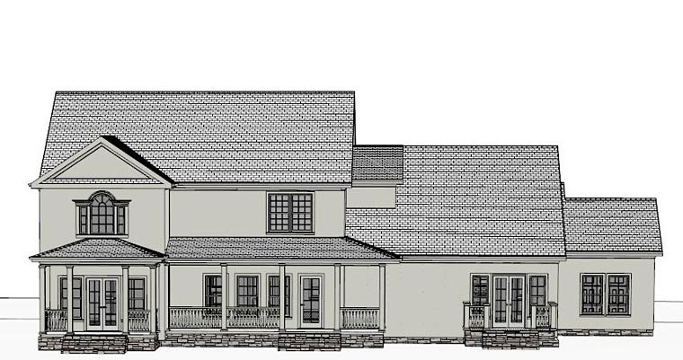 Colonial, Southern House Plan 40516 with 4 Beds, 4 Baths, 3 Car Garage Rear Elevation