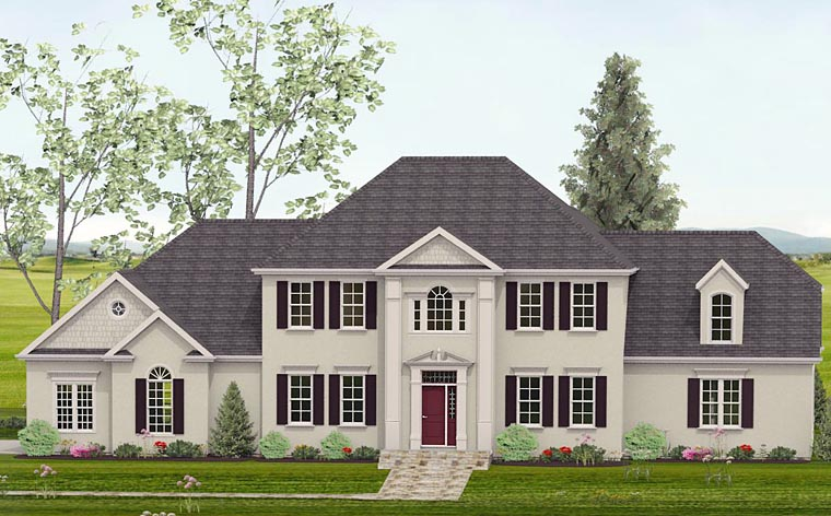 Colonial, Southern House Plan 40518 with 4 Beds, 4 Baths, 3 Car Garage Elevation