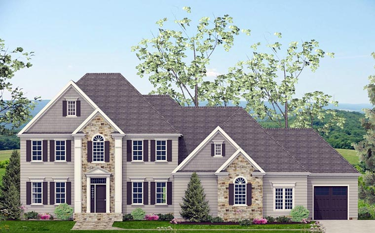 Colonial, Southern House Plan 40519 with 4 Beds, 4 Baths, 3 Car Garage Elevation
