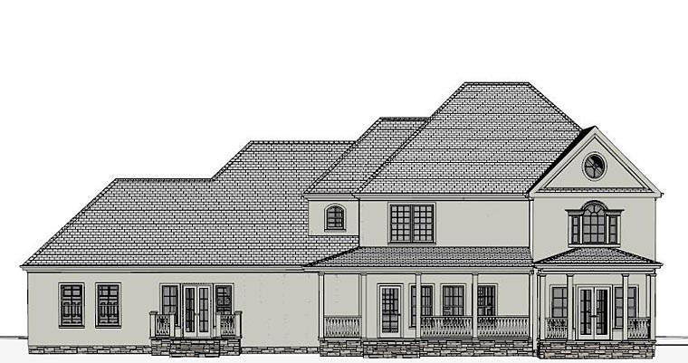 Colonial, Southern House Plan 40519 with 4 Beds, 4 Baths, 3 Car Garage Rear Elevation