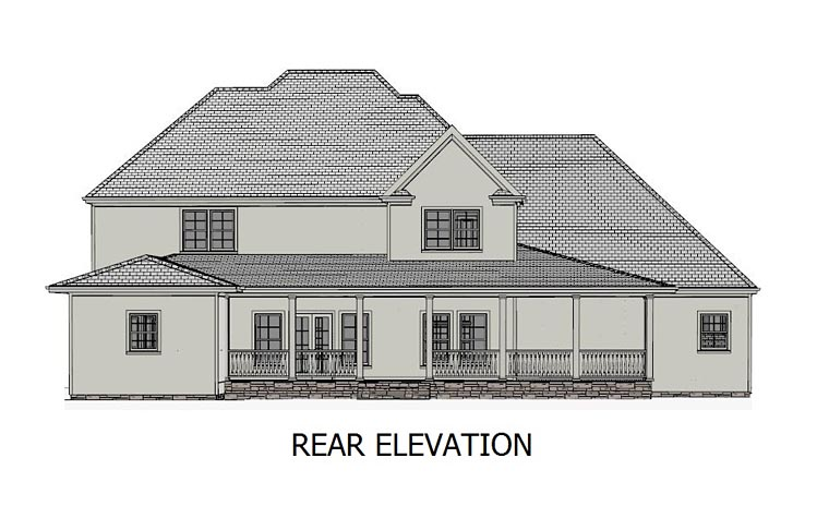 European, Southern, Traditional House Plan 40520 with 5 Beds, 4 Baths, 3 Car Garage Rear Elevation