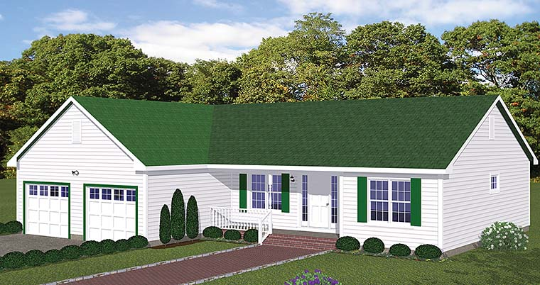 Ranch, Tudor House Plan 40606 with 3 Beds, 2 Baths, 2 Car Garage Elevation
