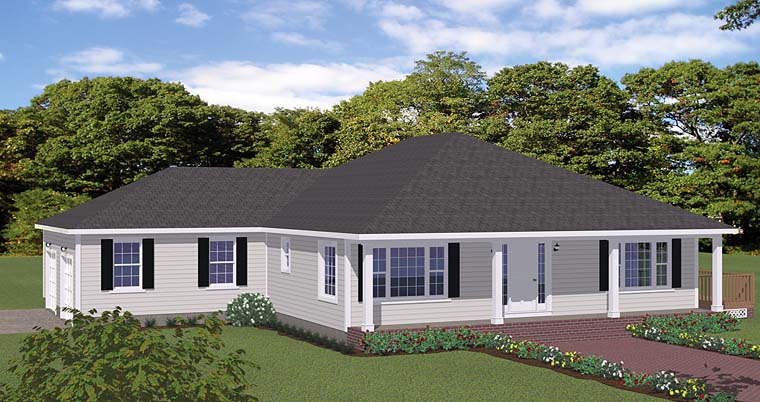 European, Ranch, Traditional House Plan 40609 with 3 Beds, 3 Baths, 2 Car Garage Elevation