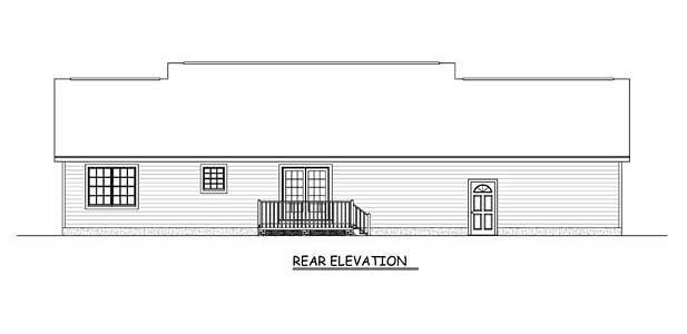 Country, Ranch, Southern House Plan 40631 with 3 Beds, 2 Baths, 2 Car Garage Rear Elevation