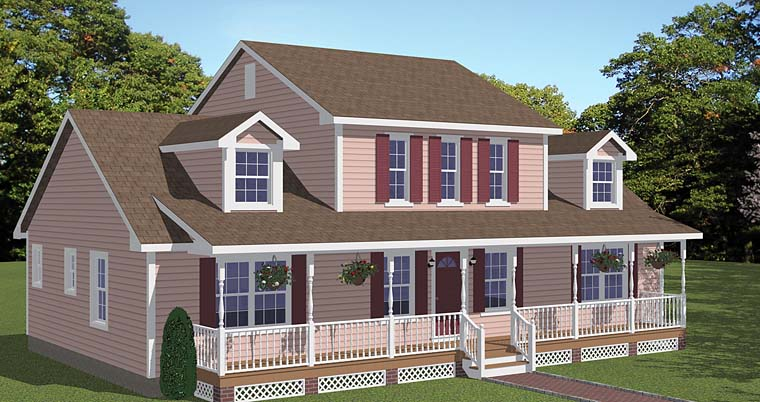 Country, Southern, Traditional House Plan 40644 with 4 Beds, 3 Baths Elevation