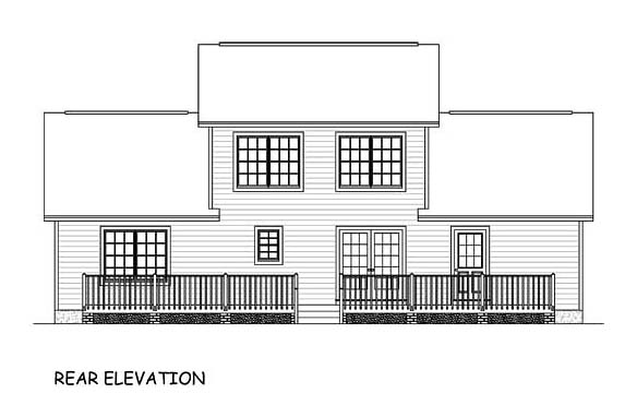 Country, Southern, Traditional House Plan 40644 with 4 Beds, 3 Baths Rear Elevation