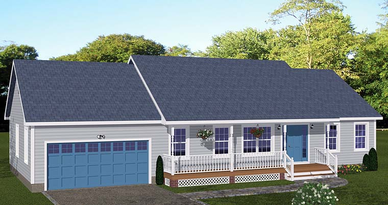 Ranch House Plan 40646 with 3 Beds, 2 Baths, 2 Car Garage Front Elevation