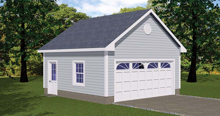 Traditional 1 Car Garage Plan 40654 Front Elevation