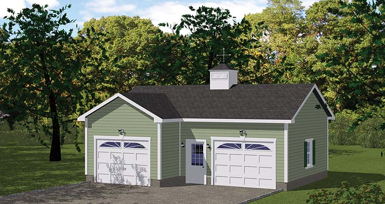 Traditional 2 Car Garage Plan 40658 Front Elevation