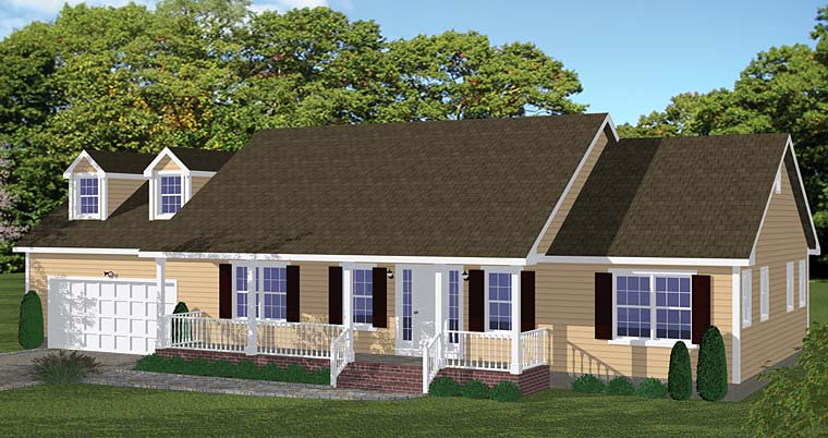 Country, Ranch, Traditional House Plan 40675 with 3 Beds, 2 Baths, 2 Car Garage Elevation